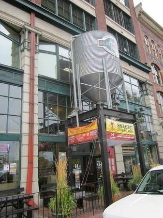 Harmon Pub & Brewery: Our grain silo sitting over the front entrance.