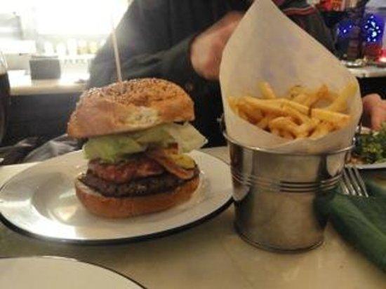 Bobos Burgers Restaurant:                   Hamburger and a BIG bucket of fries