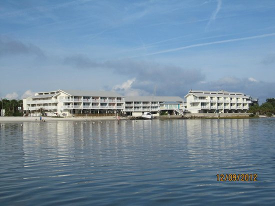 Cedar Cove Beach & Yacht Club: View from the gulf of the resort.
