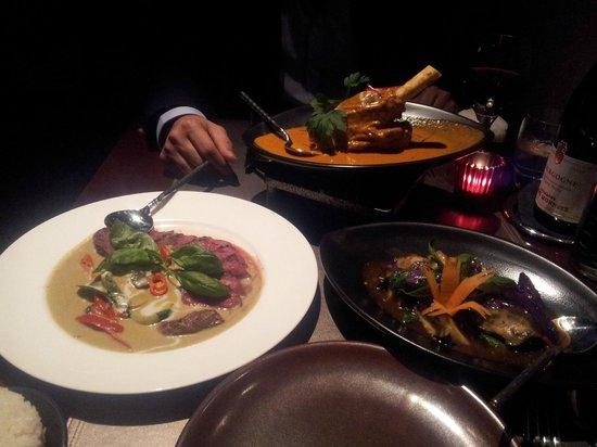 Patara Fine Thai Restaurant - Soho:                   Aberdeen Angus Beef with Basil Sauce, Lamb Shank Curry & Seasonal Aubergines
