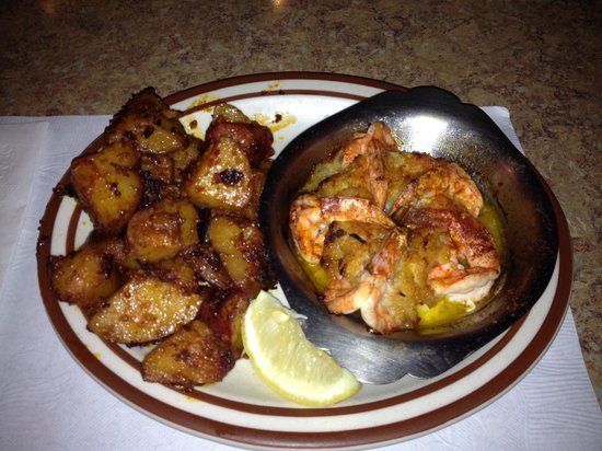 Clam Bake:                   Baked stuffed gulf shrimp with garlic potatoes