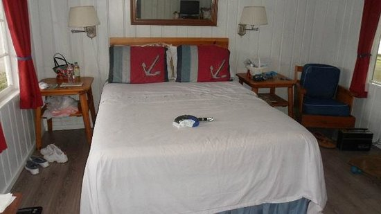 Deane's Oceanfront Lodge: Original wood walls, cmfortable bed with doggie shett to protect the bedspread