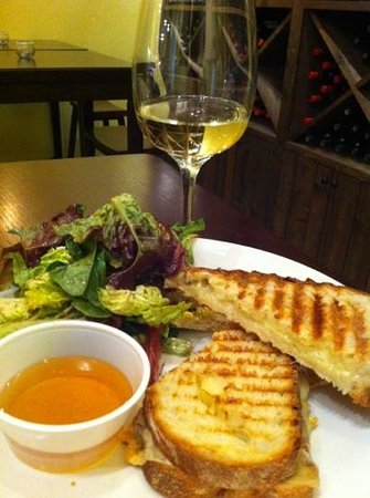 Cheese Culture:                   Grilled cheese with honey, mixed greens and Chardonnay