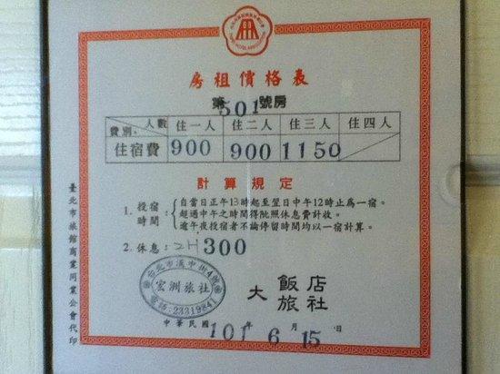 Hongzhou Hotel:                   値段
