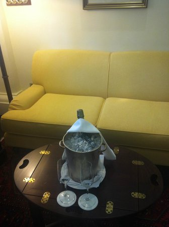 Raffles Hotel Singapore:                   Palm Court Suite ::: Free champagne!