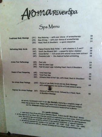 Mutiara Beach Guesthouse: Spa Menu