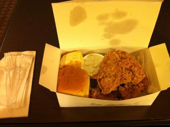 Larry's Fried Chicken :                   Three piece all-white to go.
