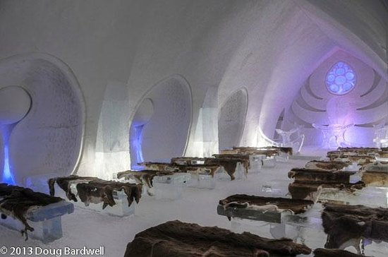 Hotel de Glace:                   Interior of wedding chapel