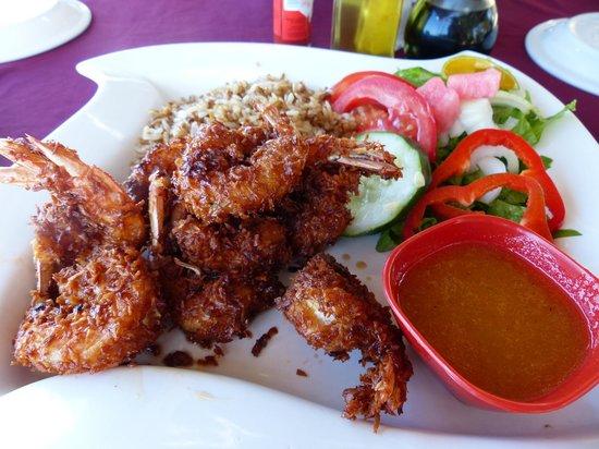 Camaron Dorado: Coconut shrimp