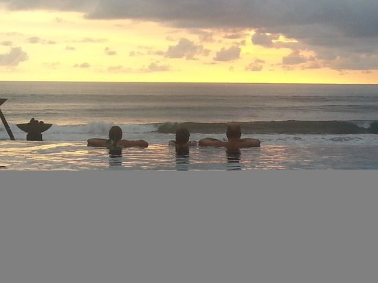 The Legian Bali:                   Pool at the Legian Seminyak overlooking the beach and sunset