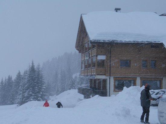 Le Restaurant Les Sapins :                                                       côté piste face a la montagne