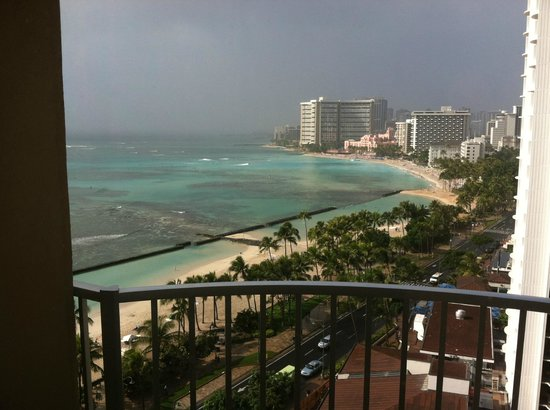 Aston Waikiki Beach Hotel:                   View of Waikiki Beach from our room on 28th floor