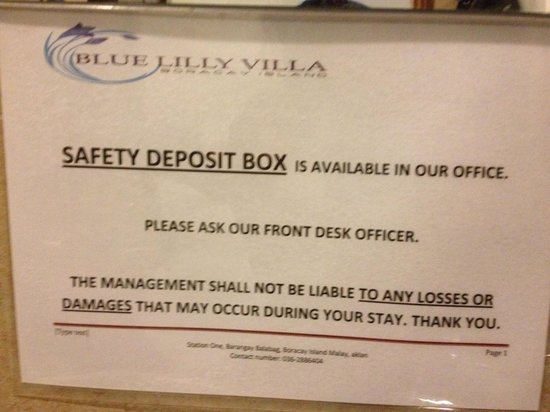 Bluelilly Hotel:                   Safety deposit box in the lobby