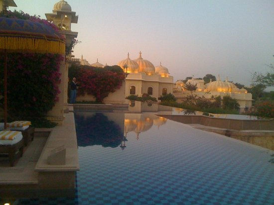 The Oberoi Udaivilas: on the terrace of the room at sunset