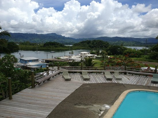Savusavu Hot Springs Hotel:                   View of the bay from the swimming pool area