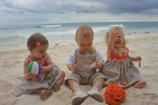 Mahekal Beach Resort:                                                                         Babies on the beach
