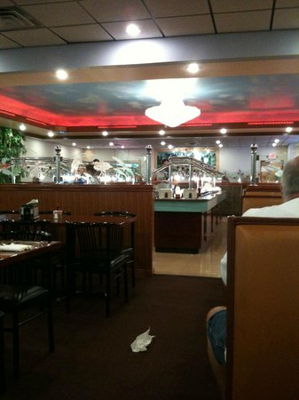 Mongolian Buffet:                   Seating on both sides of the buffet and is easily accessable from wherever you