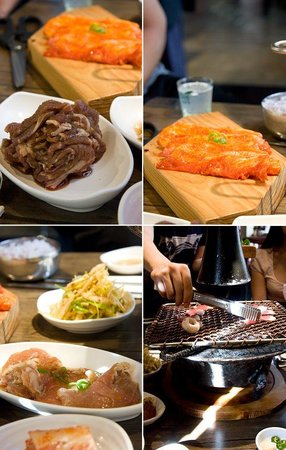 the grill in the middle of each table picture of korean. Black Bedroom Furniture Sets. Home Design Ideas