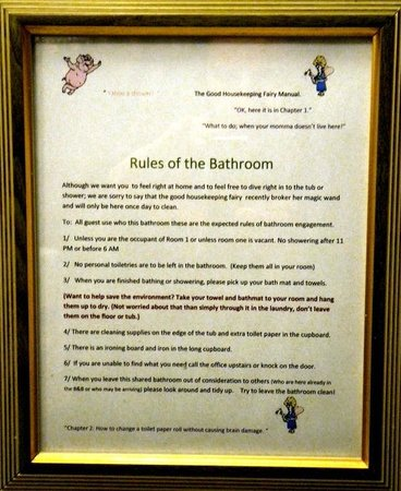 Embleton House Bed and Breakfast:                   Bathroom rules