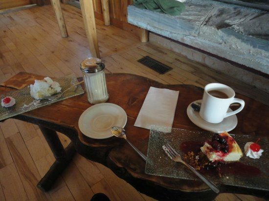 Chalets Restigouche:                   Delicious homemade desserts by the fire.
