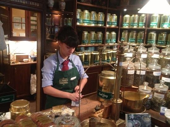 A. C. Perch's Thehandel:                   wrapping the tea in gift paper for us