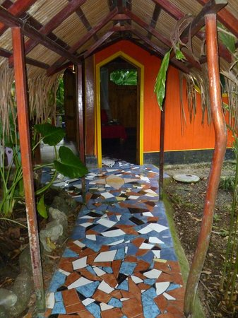 Hotel La Costa de Papito:                   The short path between the bathroom and bungalow.