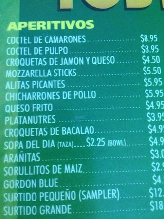 "El Toston Criollo :                   the fith appetizer $5.95 ""alitas picantes"" means ""hot wings"" and they didnt se"