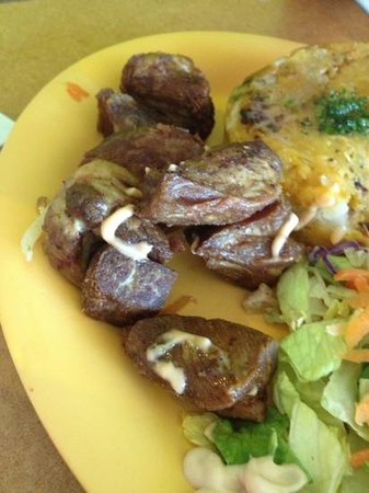 El Toston Criollo:                   overcooked fried pork wich my girlfriend couldn't eat