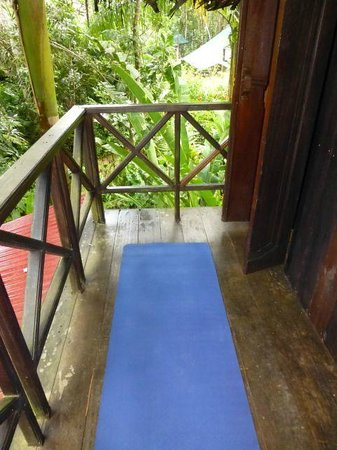 Red Frog Bungalows:                   Enough room to do yoga on the bungalow patio