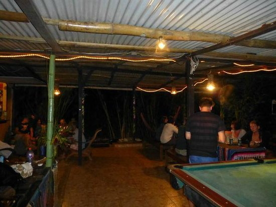 Red Frog Bungalows:                   Common area at night