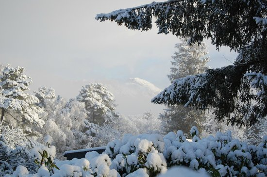 Skelwith Fold Caravan Park :                   Snowy Loughrigg view from the Park