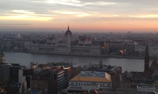Hilton Budapest:                   Overlooking River Danube to Hungarian Parliament at Hilton Hotel