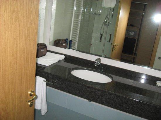Garden Hotel Arezzo:                                     bagno e vista di riflesso della cassaforte armadio ingresso