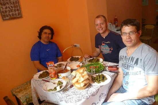 Center Hostel: Guests test our breakfast