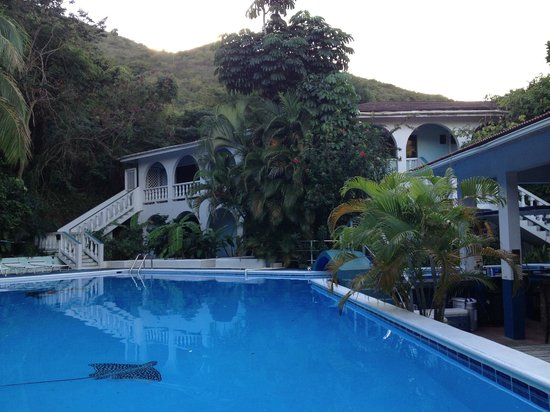 The Tamarind Club:                   View of the pool and the 2 story building housing most of the rooms