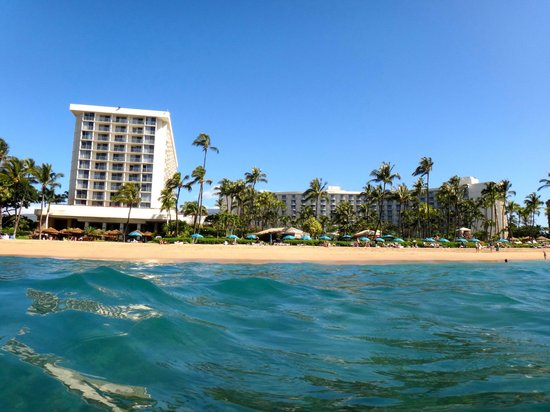 Westin Maui Resort And Spa: This is looking back at the property from the Ocean.