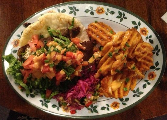 Austin Street Bistro:                                     Gyros and Waffle Fries