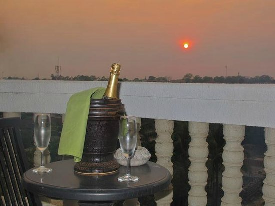 The Privilege Floor by BOREI ANGKOR:                   Bubbly at sunset