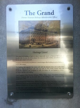 Grand Hotel Melbourne - MGallery Collection: Historical plaque