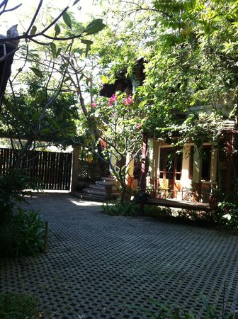 Santitham Guest House :                   View from the swing seat in the gardens