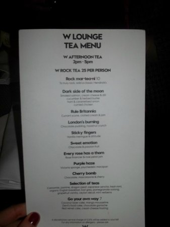 W London Leicester Square:                   The Menu