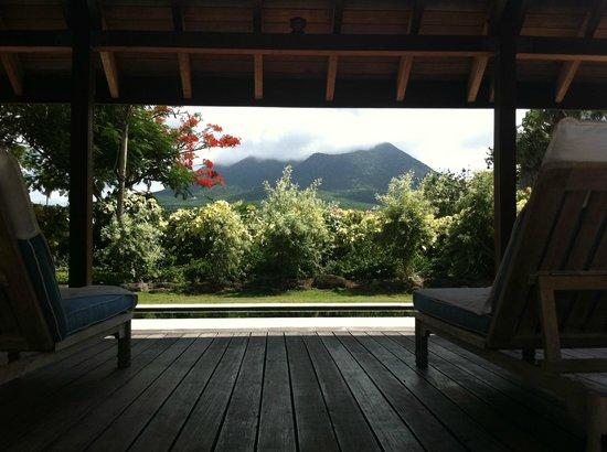 Four Seasons Resort Nevis, West Indies:                   Nevis Peak from the spa pool