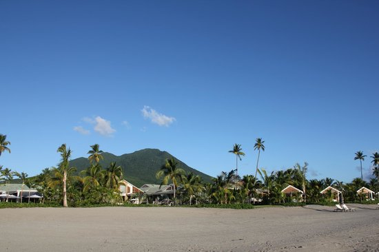 Four Seasons Resort Nevis, West Indies:                   Mountain and hotel from Pinney's Beach