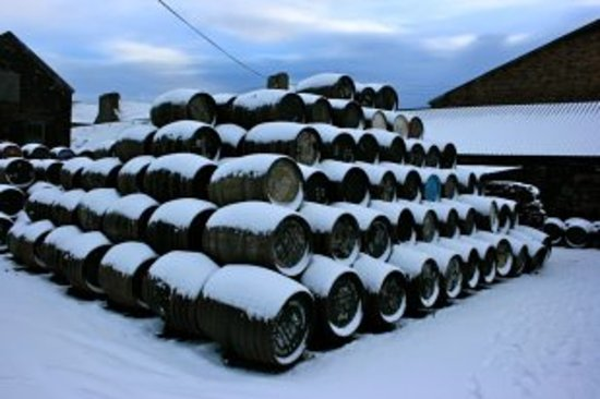 Springbank Distillery: Casks in the snow
