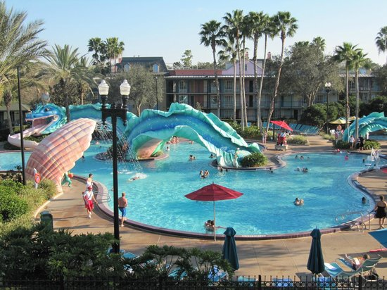 Disney's Port Orleans Resort - French Quarter:                   Resort pool and slide area
