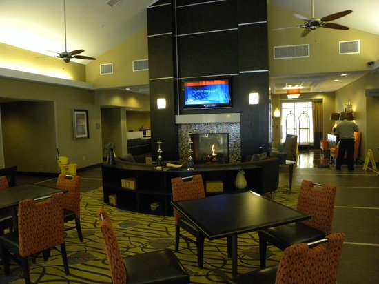 Homewood Suites Rochester/Greece:                   Lobby, large fireplace