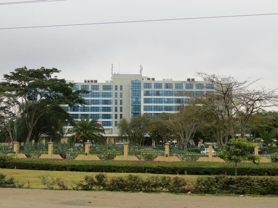 Mount Meru Hotel:                   View of front of hotel from main road