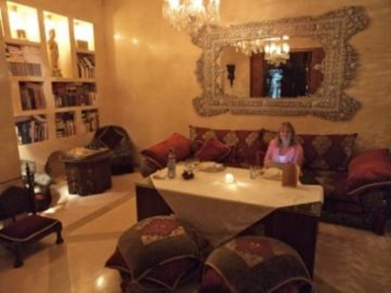 Riad Flam:                                     Dinner was served in the living room, where there is a fire
