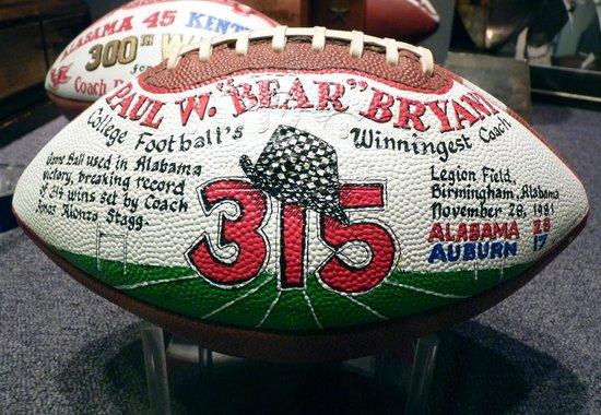 Paul W. Bryant Museum :                   315 game ball