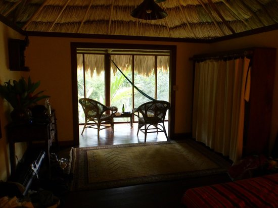 Blancaneaux Lodge:                   View from bed area